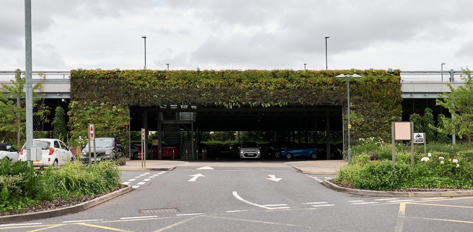Cheshire Oaks Green Wall Car Park Entrance
