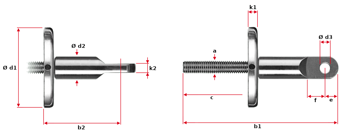 Eye End with Support Washer Dimensions