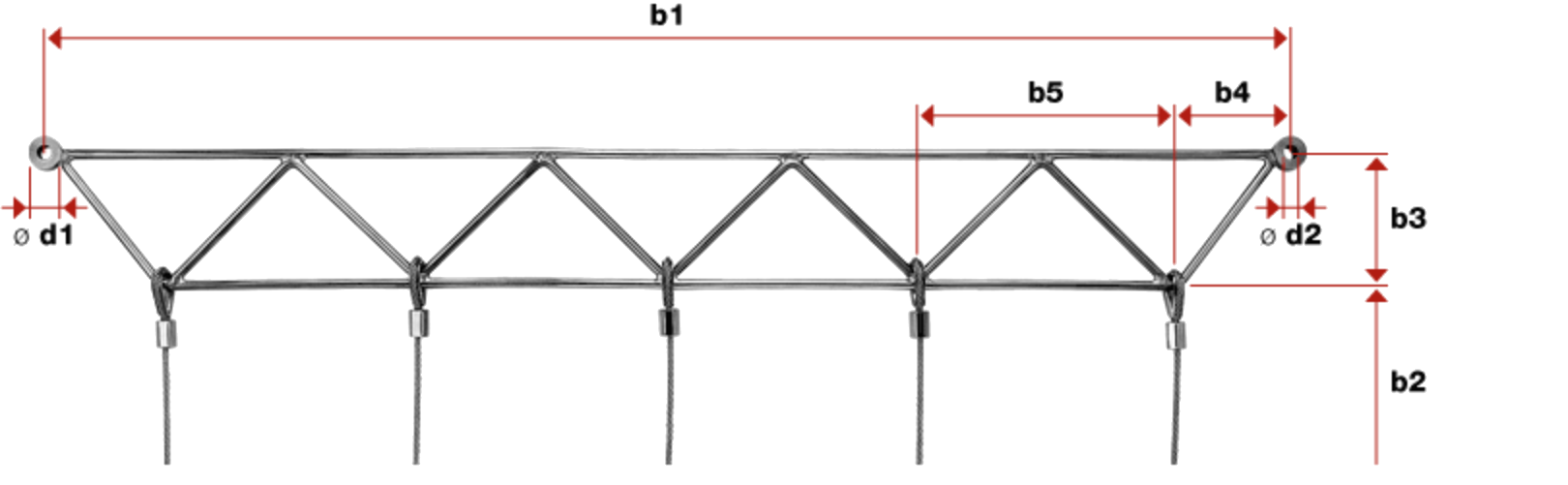 Greenguide Trellis Works with Swaged Loops Kit 1 (With 3 Vertical Wires) top frame measurements