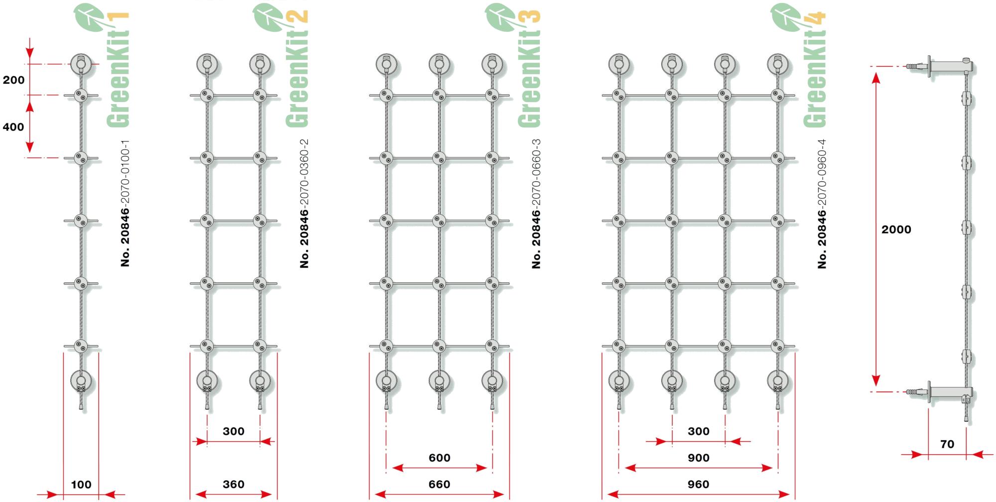Stainless Steel Wire Trellis Kit Sizes