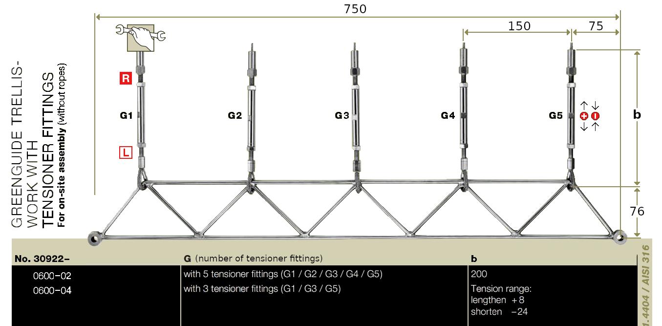 Jakob Steel Trellis Kit Bottom Frame Dimensions