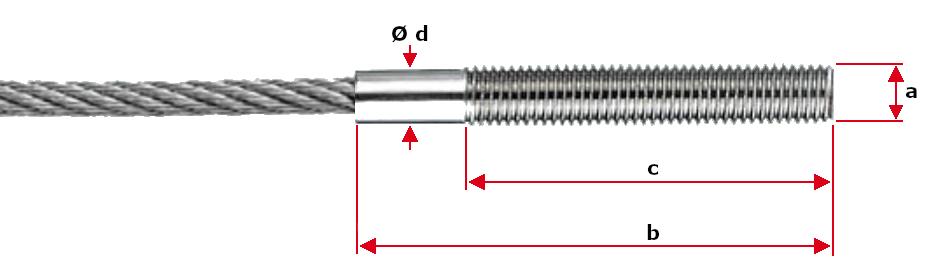 M10 Swaged Vissline External Thread Ends for 8mm Rope