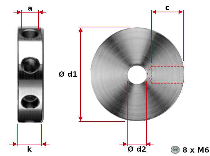 Radial bore disk with internal threads