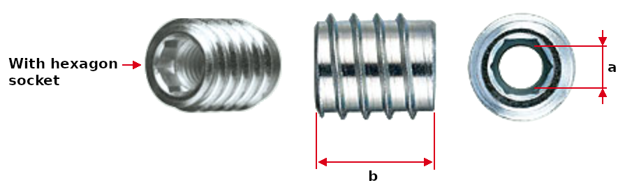 Rampa Screw-in Nut for Wood Dimensions