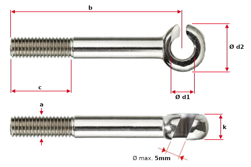 Slotted Eye Bolt Dimensions