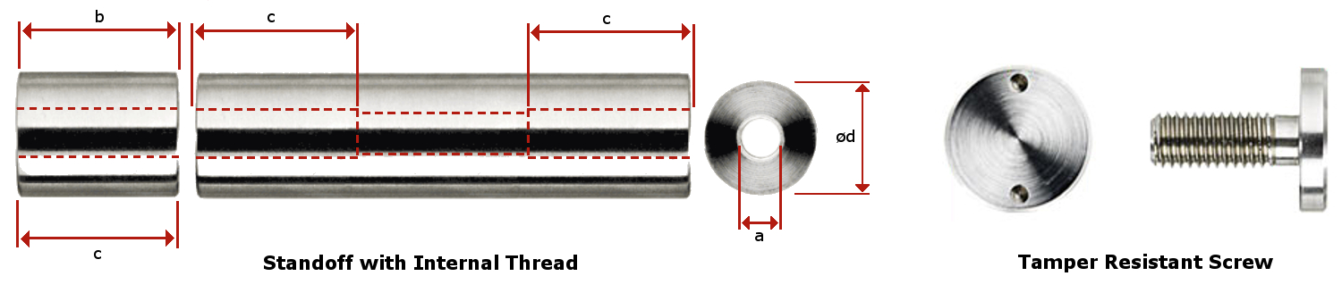 Standoff with Internal Thread and Tamper Resistant Screw Measurements
