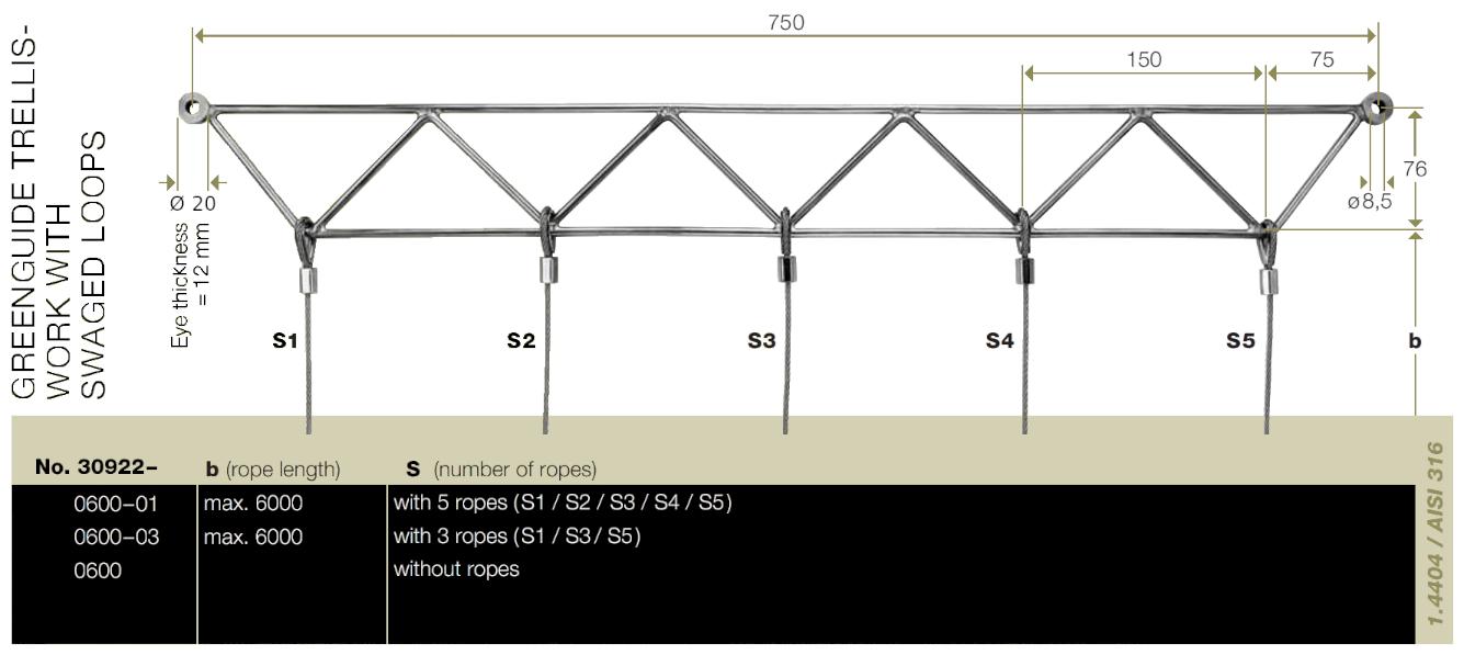Steel trellis system Jakob top frame dimensions