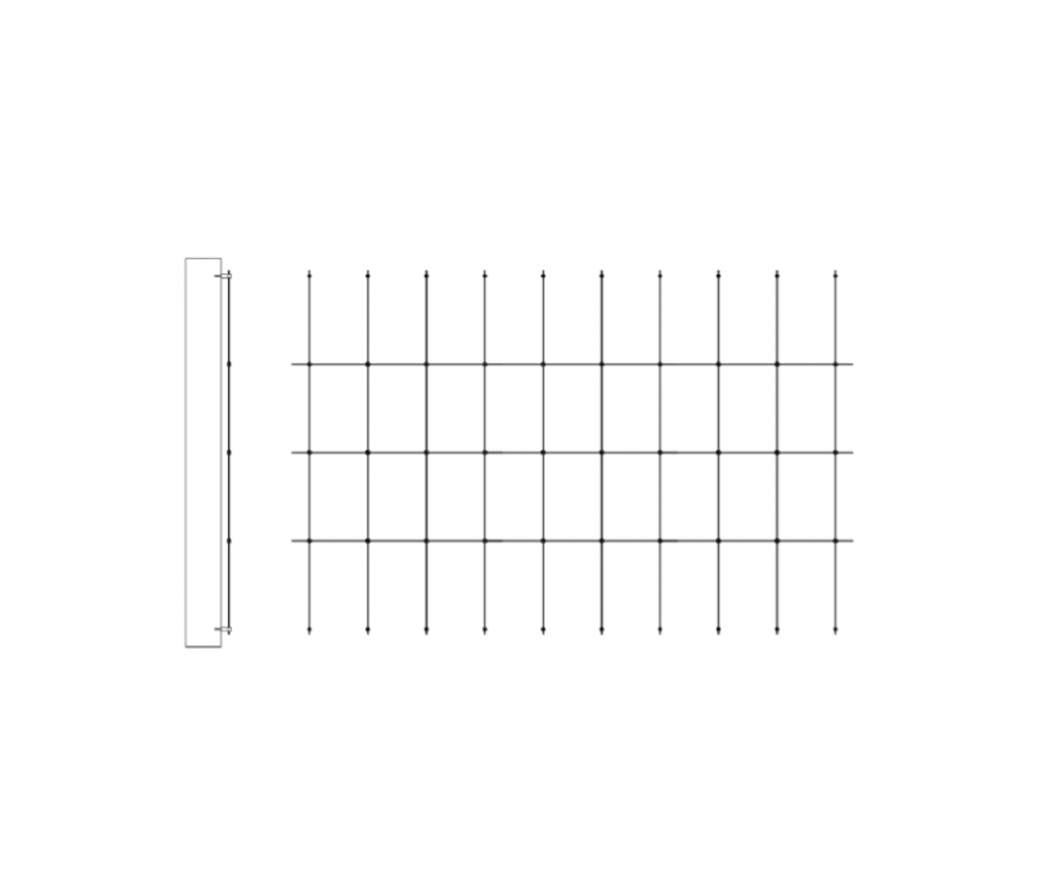 Stainless Steel Trellis Stand-off kit 3m Width 1m to 2m Height