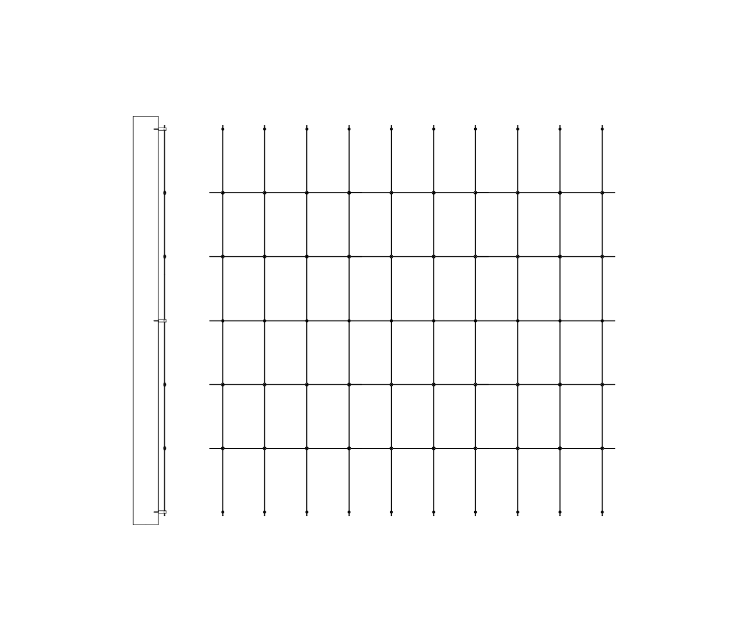Wire trellis for garden kit 3m Width 2m to 3m Height by Jakob