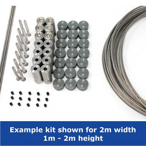 Garden wire trellis kit 2m width 1m to 2m height Jakob